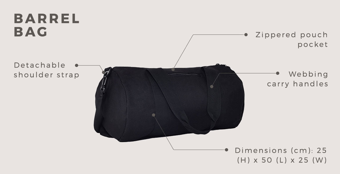 the idle man barrel duffle bag black for men