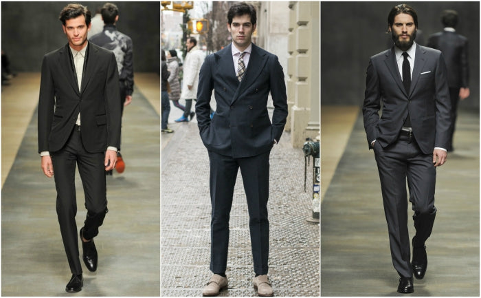 dark grey suit for men street style