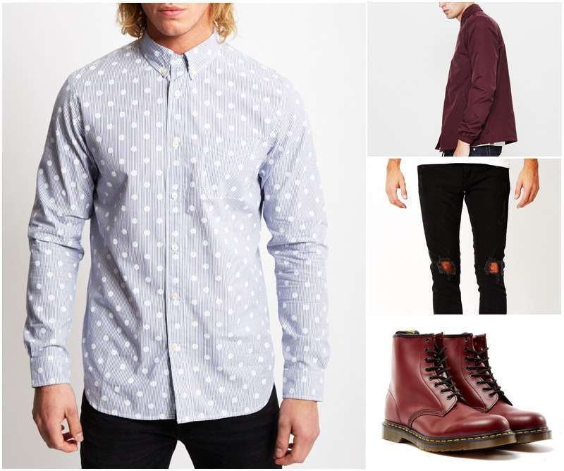 Best Top Dress Shirts Party Polka Dot Blue Burgundy Red Jacket Dr Martens Boots Ripped Black Skinny Jeans