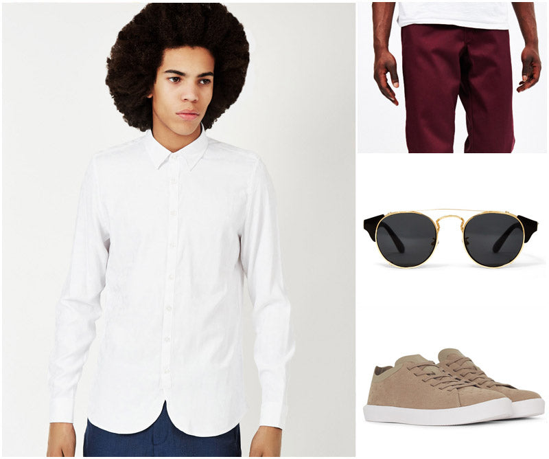 Best Top Dress Shirts White Casual Outfit Sunglasses Trainers Chinos Burgundy Red