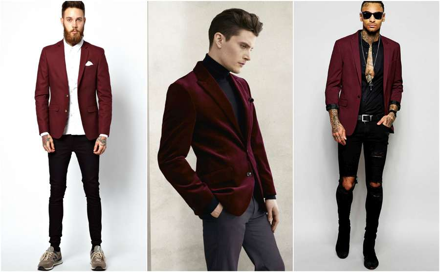 d908c96180fb72 Burgundy Coloured Blazer Men Casual Smart Street Style Shirt