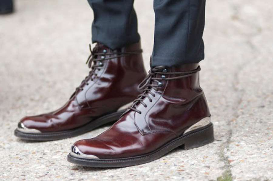 Burgundy-Shoes-Oxblood Mens Style Grey Jeans