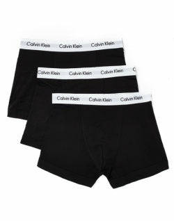 CALVIN KLEIN UNDER WEAR Cotton Stretch 3 Pack Trunk Black mens