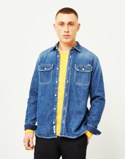 on sale dcd34 25163 CARHARTT WIP Union Denim Shirt Blue mens