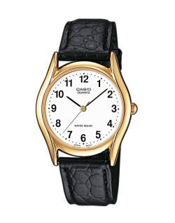 casio mtp 1154pq 7bef gold watch on black leather strap mens