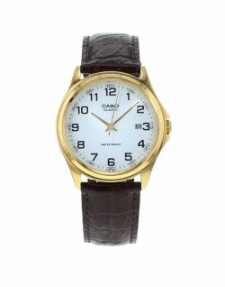 CASIO MTP-1188PQ-7BEF Gold Watch on Brown Leather Strap
