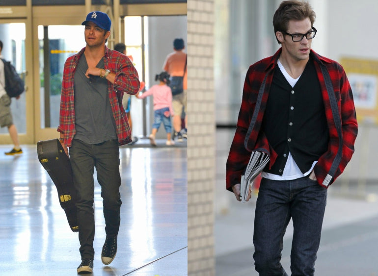 Chris-Pine-Plaid-Shirt-Jeans-Mens-Style-Fashion