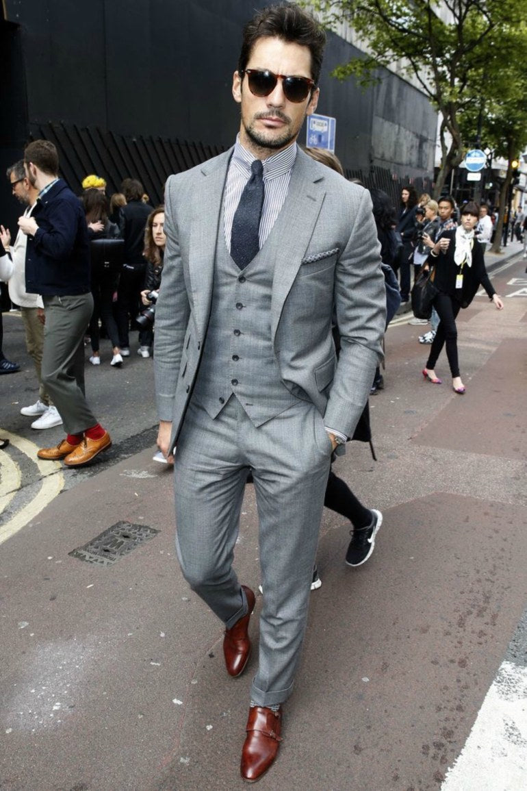 10e621143f80 David Gandy wears a grey suit with oxblood trainers