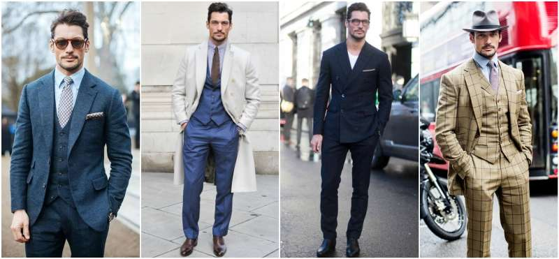 David Gandy in a suit streetstyle