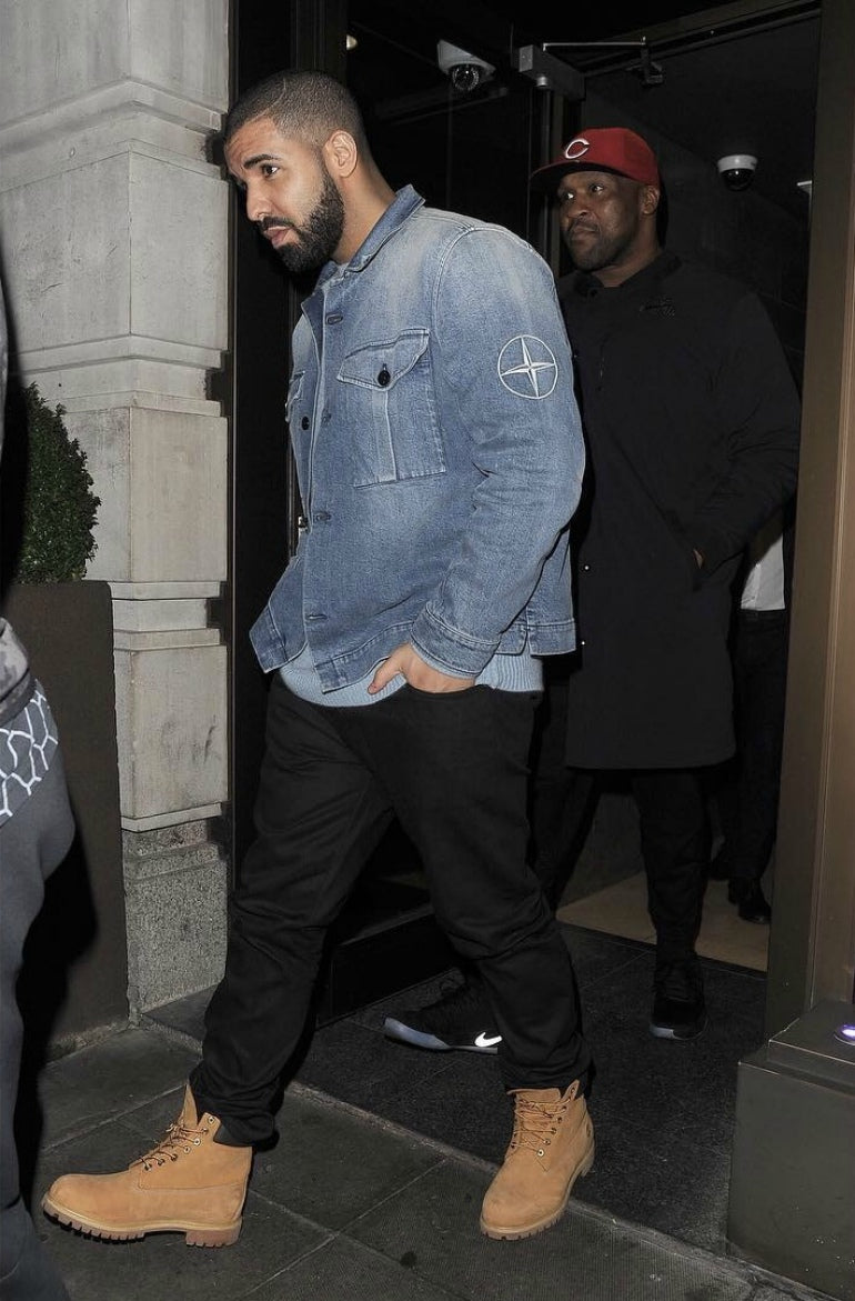 Drake-Stone-Island-denim-jacket-Timberland-boots-how-to-wear