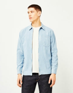 EDWIN Demo Zip Denim Shirt Blue mens