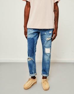 EDWIN ED-55 Regular Tapered 63 Rainbow Selvedge Jeans Pulled Wash mens