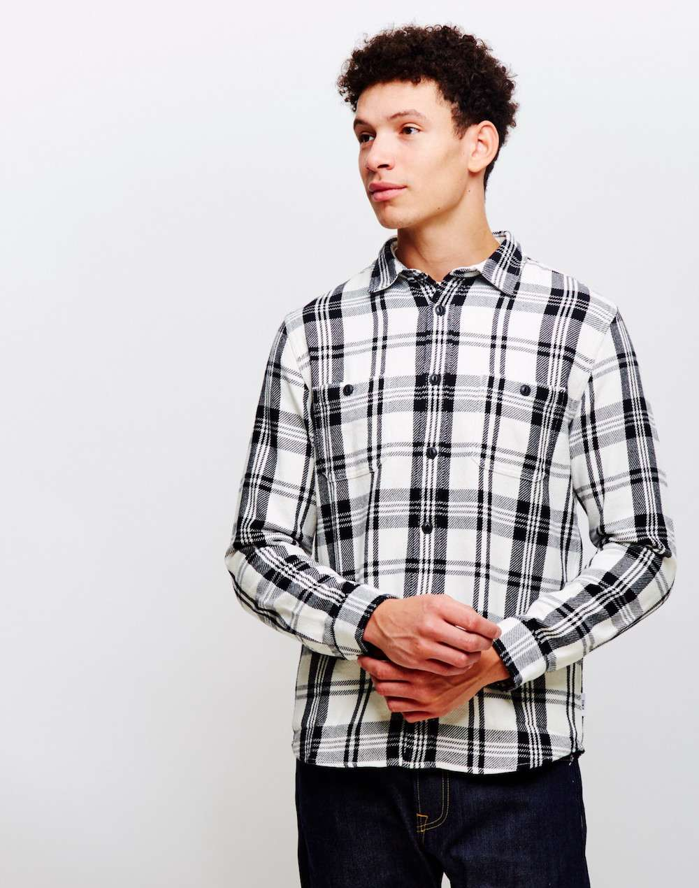 mens edwin labour shirt flannel cotton check whiteblack