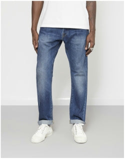 EDWINED-55 Regular Tapered Red Listed Raw Selvage Denim Jeans Retro Blue Mens