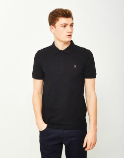 FARAH Blaney Mens Short Sleeve Polo Shirt Black