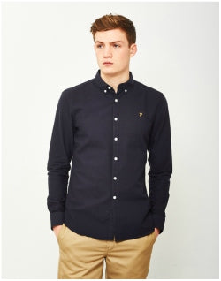 FARAH Brewer Long Sleeve Oxford Shirt Navy Mens