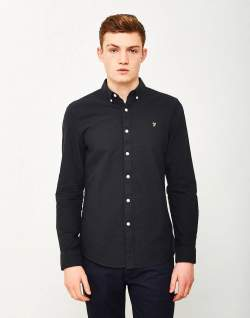 FARAH Brewer Oxford Long Sleeve Shirt Black for men