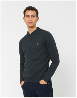 FARAH Farson Knitted Polo Shirt Black Mens