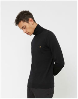 FARAH Gosforth Merino Roll Neck Black Mens