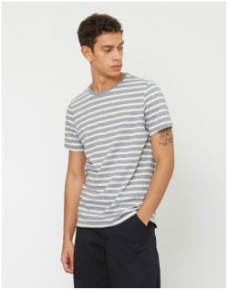 FARAH Lennox Short Sleeve Stripe T-Shirt Grey & White Mens