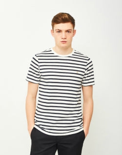 FARAH Lennox Short Sleeve Stripe T-Shirt Navy