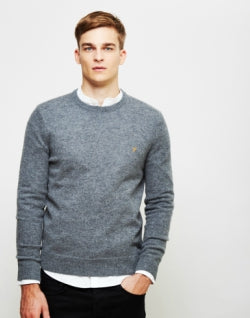 FARAH Rosecroft Crew Neck Jumper Grey mens
