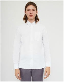 FRED PERRY Long Sleeve Heavy Oxford Shirt White Mens