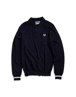 FRED PERRY Long Sleeve Tipped Cuff Knit Shirt Navy
