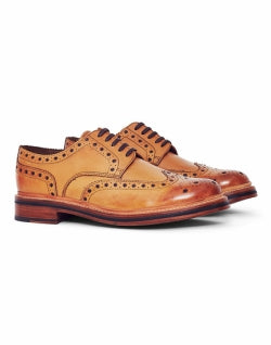 GRENSON mens Archie Leather Brogue Tan