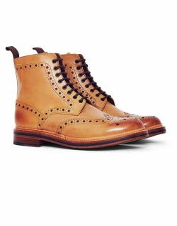 GRENSON Mens Fred Leather Brogue Boot Tan