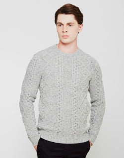 LEVI'S Mens Fisherman Cable Crew Jumper Grey Mens
