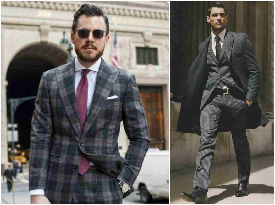 Grey Patterned Print Suit Outfit Grid
