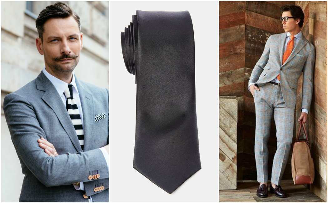 Grey Suit Black Tie Orange Tie Stripe Tie Outfit Grid