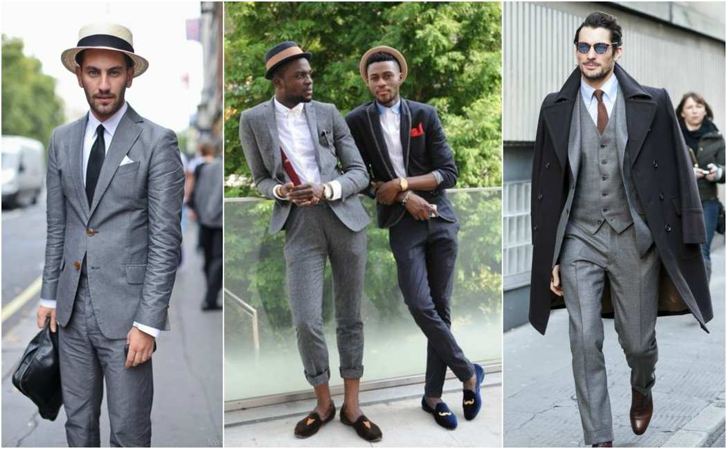 Grey Suit Hat Pocket Square Overcoat Outfit Grid