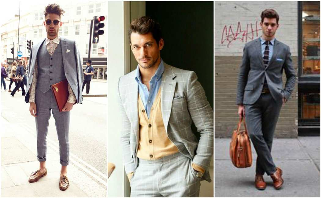 Grey suit floral shirt cardigan blue shirt outfit grid