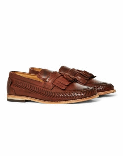 HUDSON Mens Zair Leather Tassel Loafer Brown