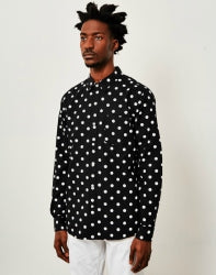 HUF BOB Long Sleeve Polka Dot Shirt Black mens