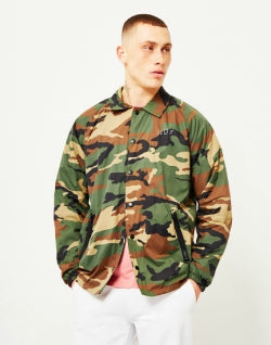 HUF Shadow Mens Camo Coach Jacket Brown