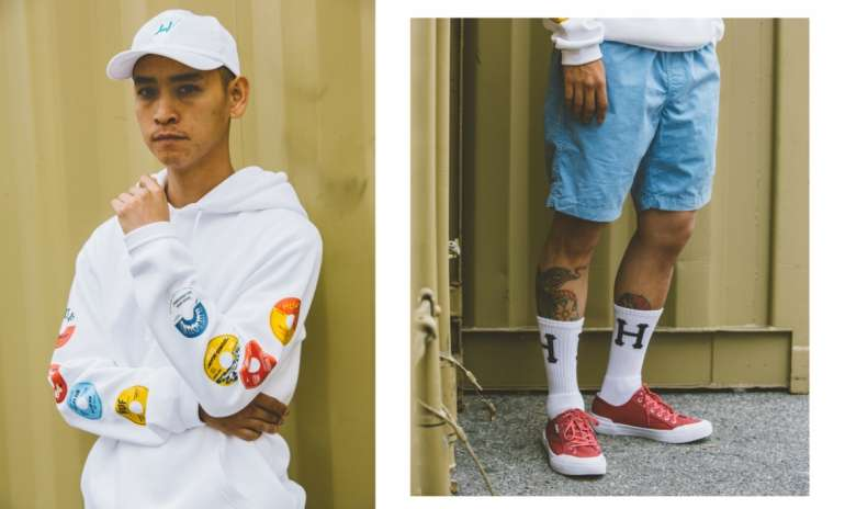 HUF mens white hoodie and blue shorts street style