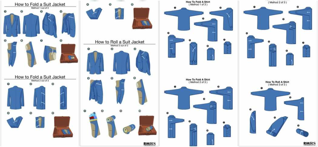 How to fold a suit jacket and shirt instructions