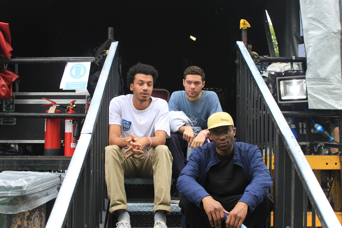 Ratking backstage straight after their early Main Stage set