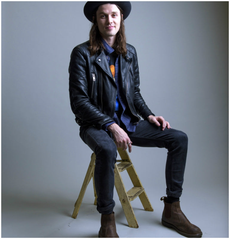James Bay style chelsea boots black jeans leather jacket
