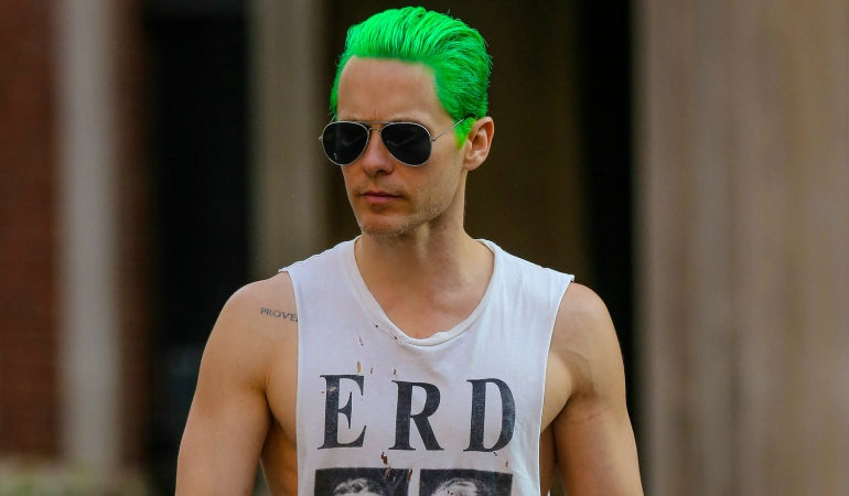 Jared Leto green hair white vest aviator sunglasses mens street style
