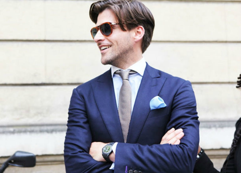 navy suit blue shirt mens street style