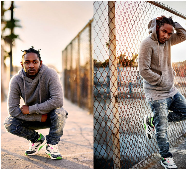 85b35c7d77ae Get Kendrick s style by pairing a snazzy pair of kicks with distressed  jeans and a crew neck for a simple and effortlessly cool look.