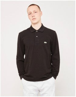 LACOSTE Long Sleeve Polo Shirt Black Mens