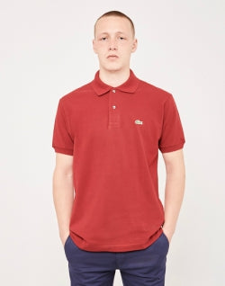 e84a247f6 LACOSTE Short Sleeve Polo Shirt Burgundy mens