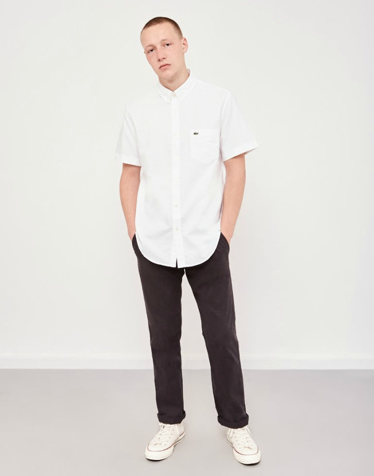 600392f92a25e LACOSTE Short Sleeved Oxford Shirt White mens
