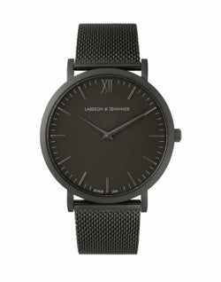 mens LARSSON & JENNINGS Lugano 40mm Black Chain Metal Watch