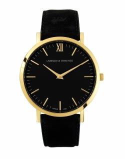 LARSSON & JENNINGS Lugano 40mm Gold Black Leather